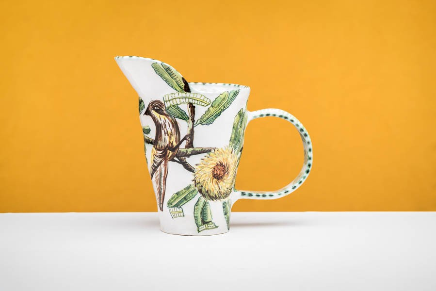 Banksia Serata pitcher with Honey Eater by Fiona Hiscock