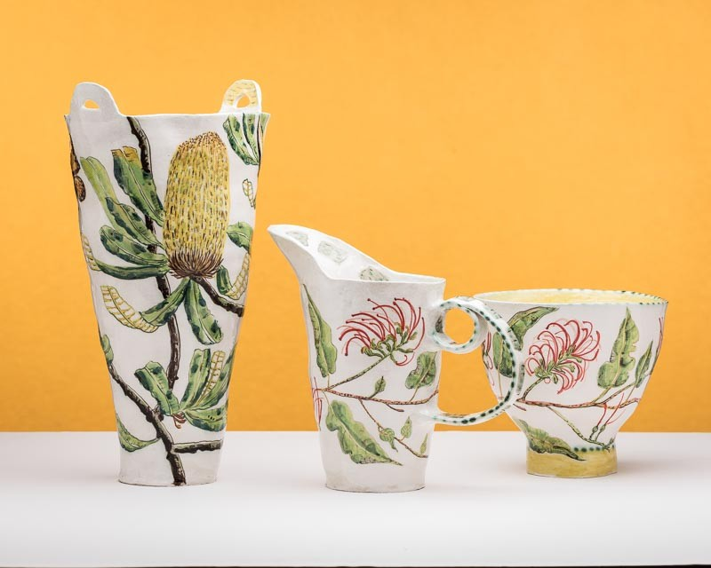 Banksia and grevillea vessels by Fiona Hiscock