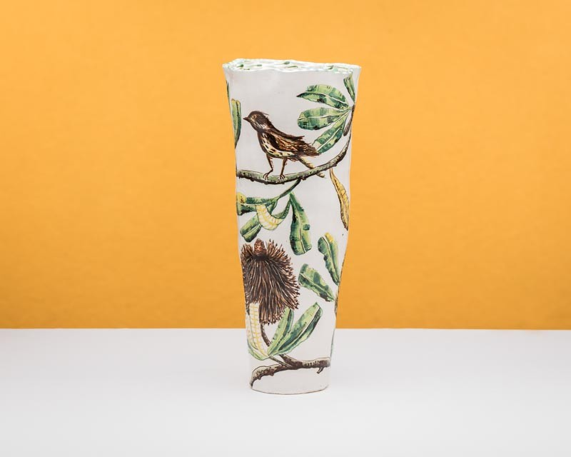 Banksia Serata vessel with honey eater by Fiona Hiscock