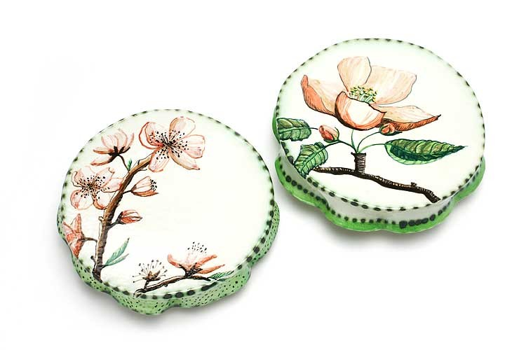 Two cake plates by Fiona Hiscock